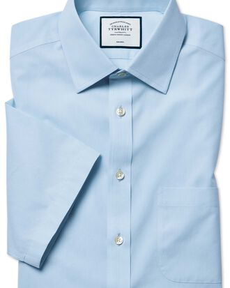 Classic fit non-iron natural cool short sleeve sky blue shirt