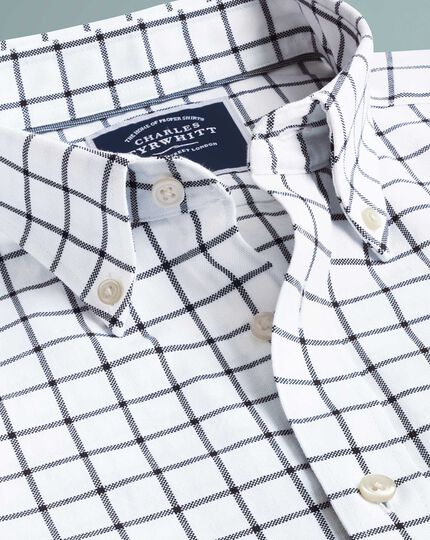 Classic fit white and navy check button-down washed Oxford shirt