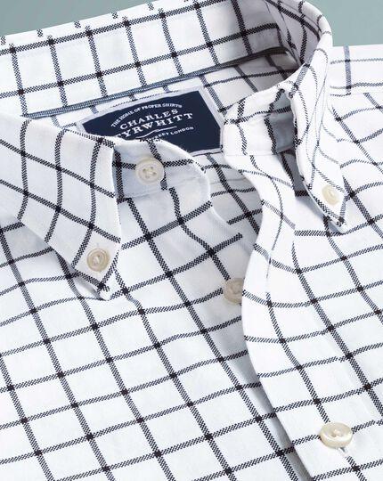 Chemise blanche et bleu marine coupe droite à carreaux à délavage doux Oxford sans repassage
