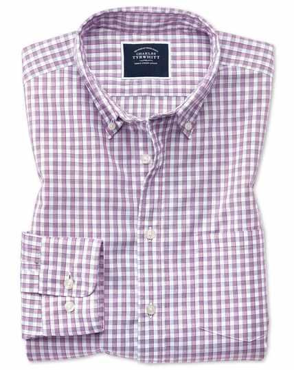 Vorgewaschenes bügelfreies Slim Fit Cool Hemd mit Gingham-Karos in Beerenrot