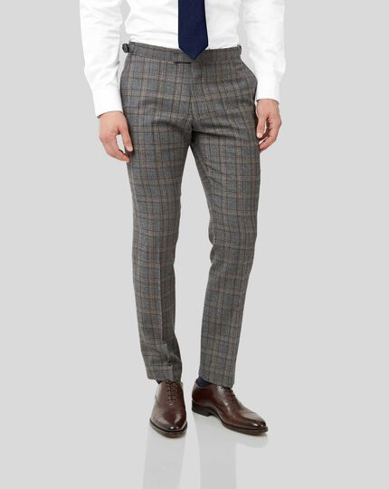 British Luxury Check Suit Trousers - Grey & Tan