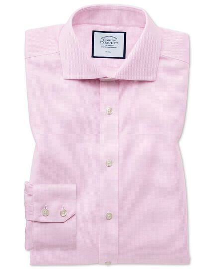 Slim fit non-iron cut-away collar pink Oxford stretch shirt
