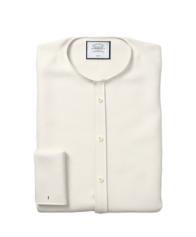 Slim fit non-iron poplin cream shirt
