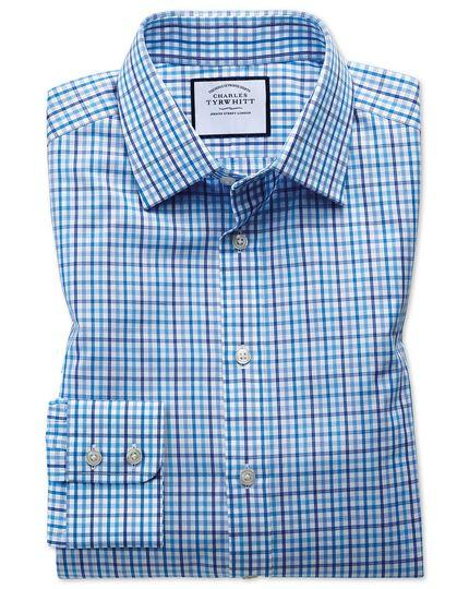 Classic fit poplin multi blue check shirt