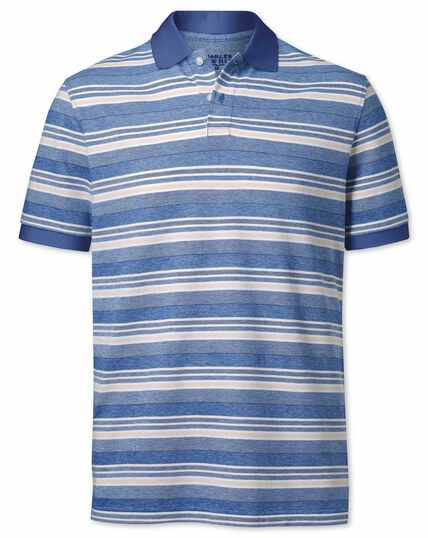 Royal blue textured stripe polo