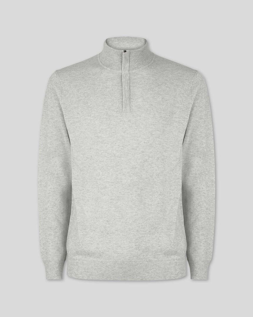 Merino Cashmere Zip Neck Sweater - Light Grey