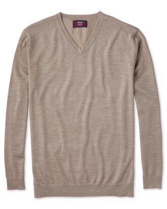 Pull gris clair en soie et laine mérinos à col V