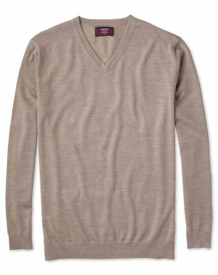 Stone merino silk v-neck jumper