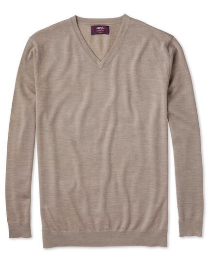 Stone merino silk v-neck jumper