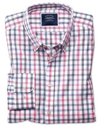 Chemise blanche et rose à grands carreaux  extra slim fit  sans repassage
