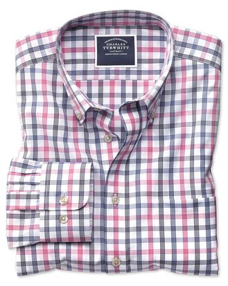 Classic fit non-iron white and pink large check shirt