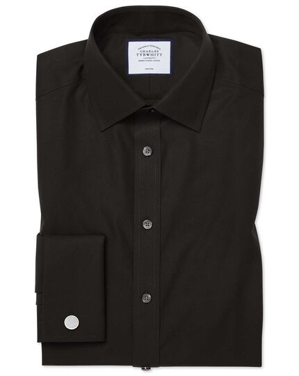 Classic fit black non-iron poplin shirt