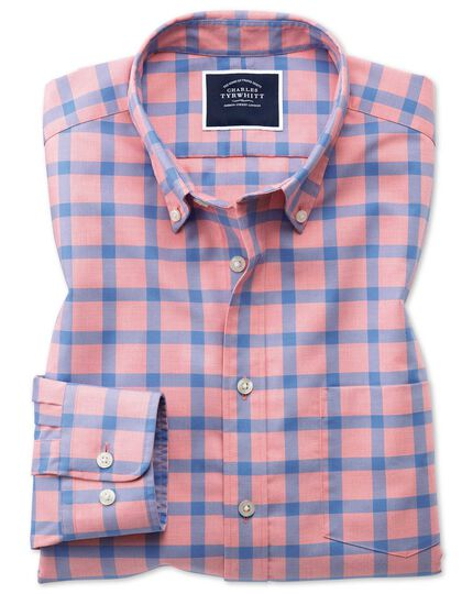Slim fit coral block check soft washed non-iron twill shirt