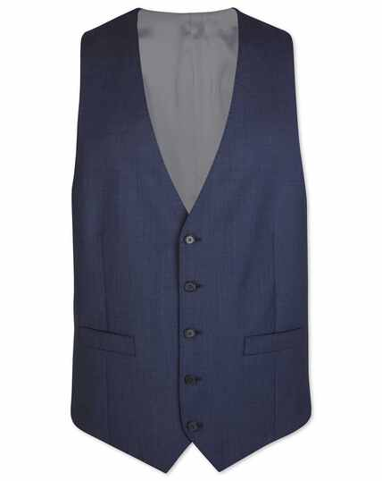 Airforce blue adjustable fit sharkskin travel suit waistcoat