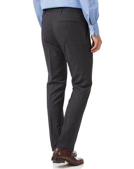 Grey check slim fit Italian suit trousers
