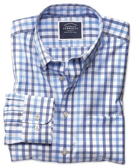 Bügelfreies Slim Fit Hemd mit großem Karomuster in Weiß und Blau