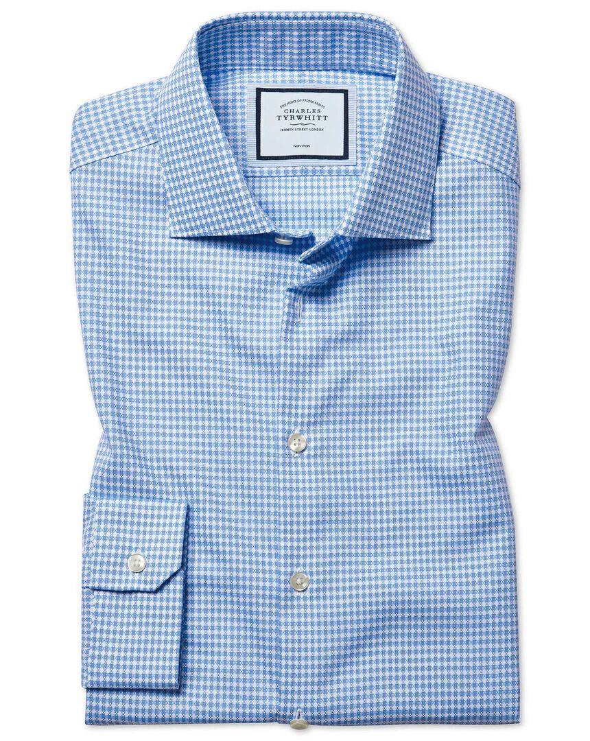Super slim fit non-iron natural stretch textures sky blue shirt