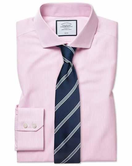 Chemise rose en popeline natural cool coupe droite à rayures sans repassage