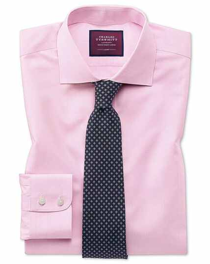 Bügelfreies Slim Fit Luxushemd mit Prince-of-Wales-Karos in Rosa