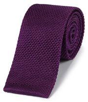 Cravate slim classique violet foncé en soie à mailles