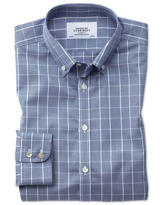 Extra slim fit button-down non-iron Prince of Wales navy blue and white shirt