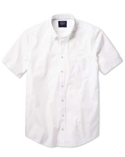 Classic fit button-down washed Oxford short sleeve white shirt