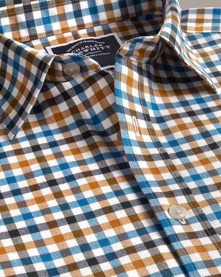 Gebürstetes Slim Fit Hemd mit Gingham-Karos in Dunkelgelb und Aquamarin