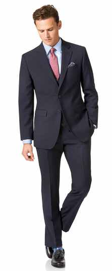Navy slim fit herringbone business suit