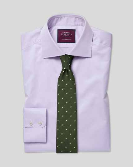 Semi-cutaway Collar Luxury Cotton Shirt - Lilac