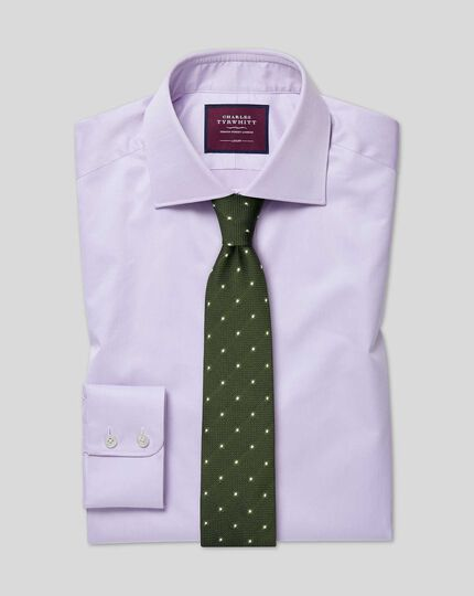 Semi-cutaway Collar Luxury Non-Iron Cotton Shirt - Lilac