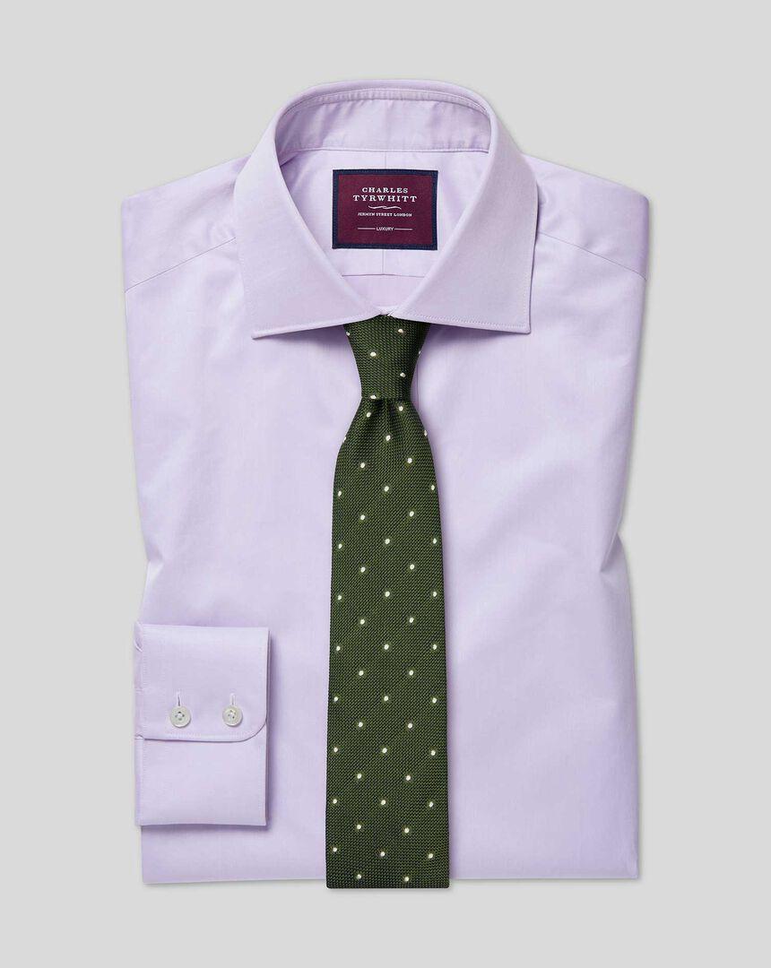 Semi-cutaway Collar Luxury Cotton Shirt - Lilac
