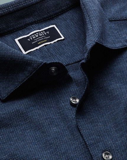Navy pyramid textured jersey shirt