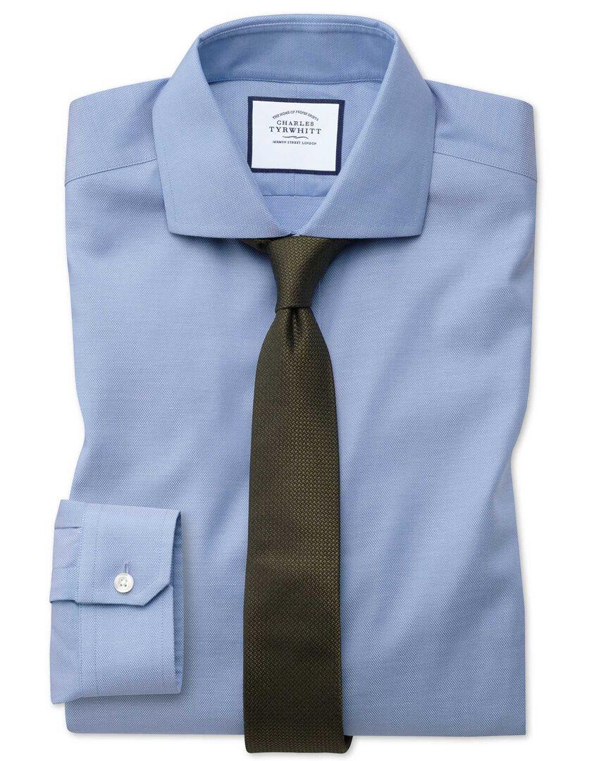 Super slim fit non-iron mid-blue Oxford stretch shirt
