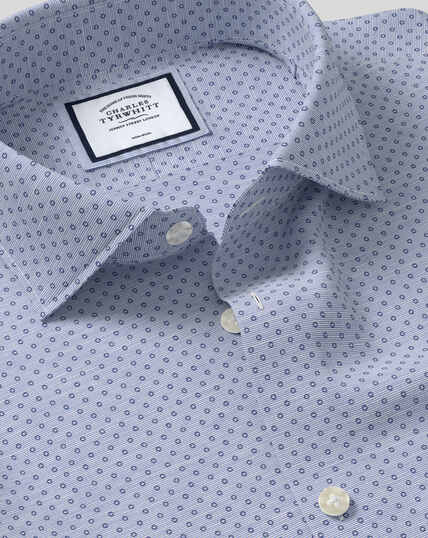 Business Casual Collar Non-Iron Circle Printed Shirt - Blue