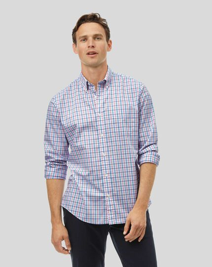 Button-Down Collar Soft Washed Stretch Poplin Check Shirt - Coral