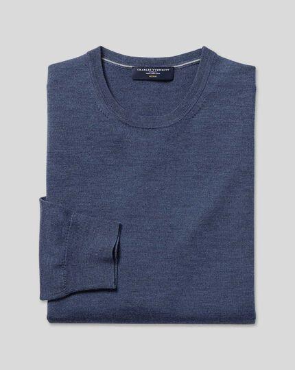 Merino Crew Neck Sweater - Indigo Melange