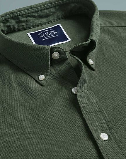 Classic fit button-down washed Oxford green shirt