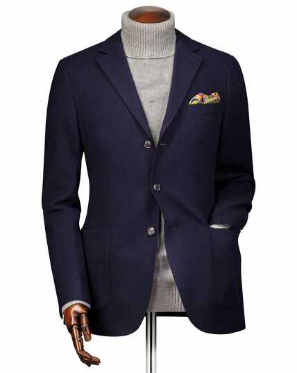 Slim fit navy textured wool jacket