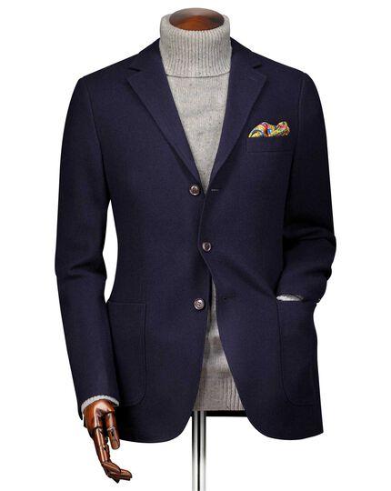 Slim fit navy textured wool jacket