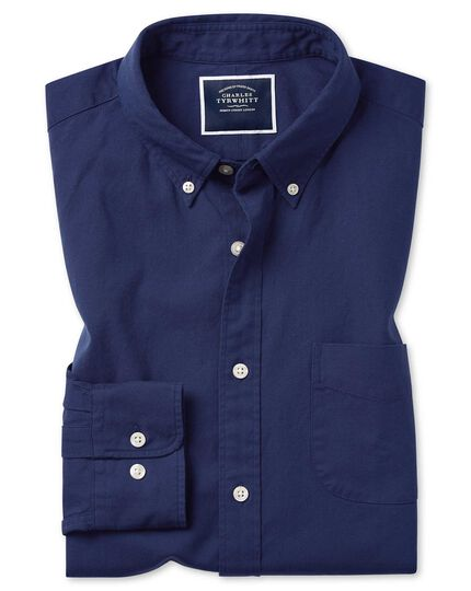 Extra slim fit button-down washed Oxford royal blue shirt