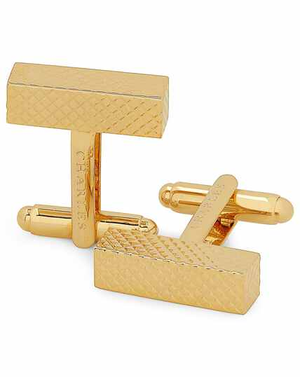 Gold textured oblong bar cufflinks