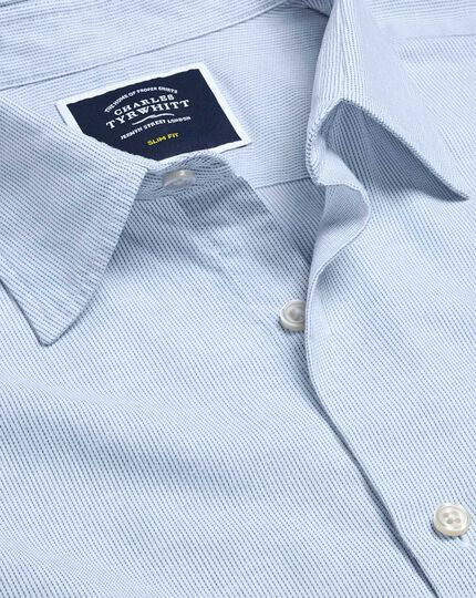 Brushed Cotton Linen Fine Stripe Shirt - Blue