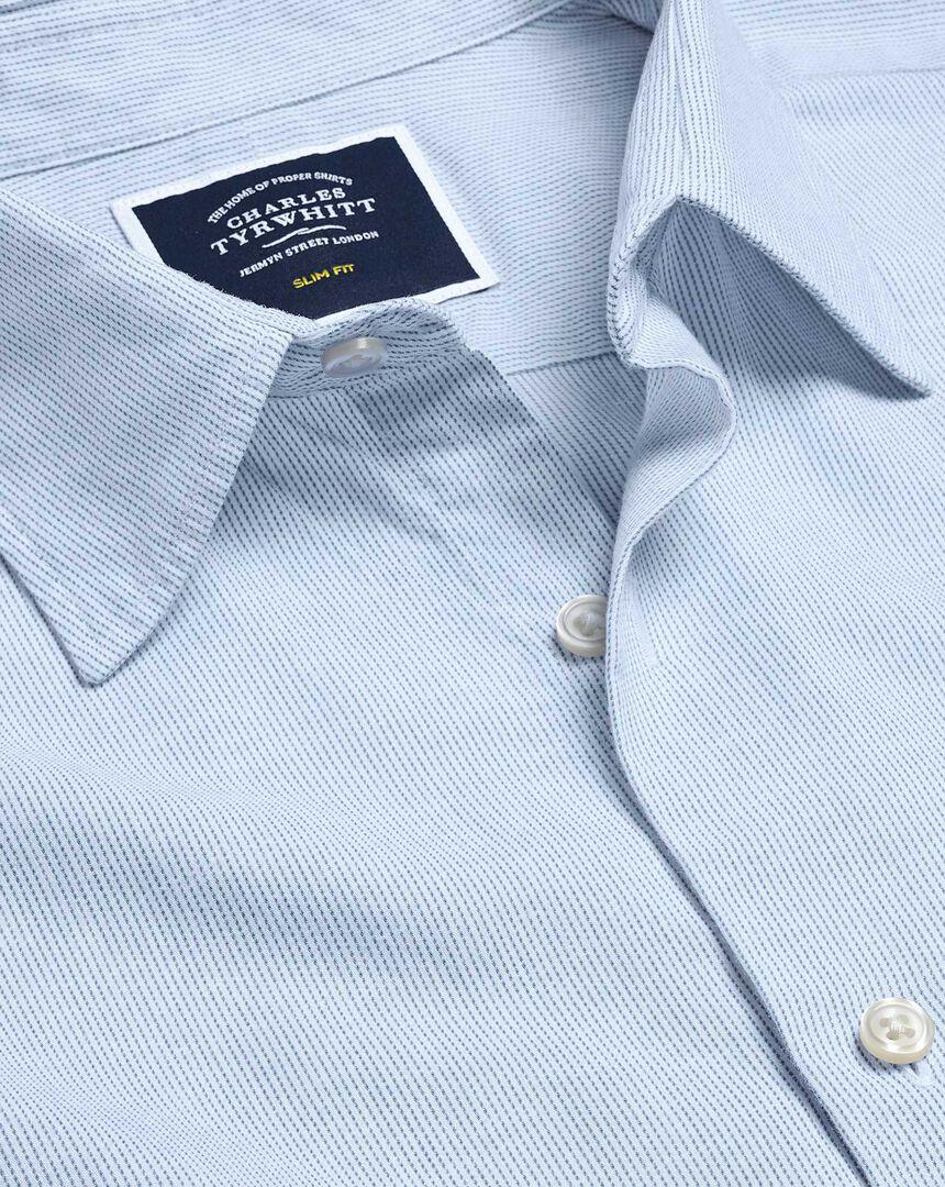 Brushed Cotton Linen Fine Stripe Shirt - Blue
