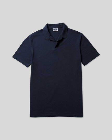 Tyrwhitt Pique Resort Collar Polo - Navy