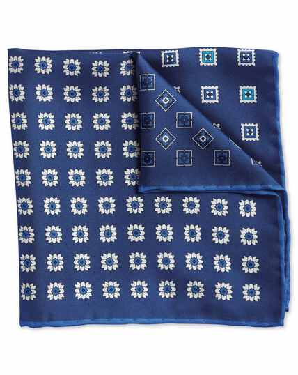 Navy medallion print quarter pocket square