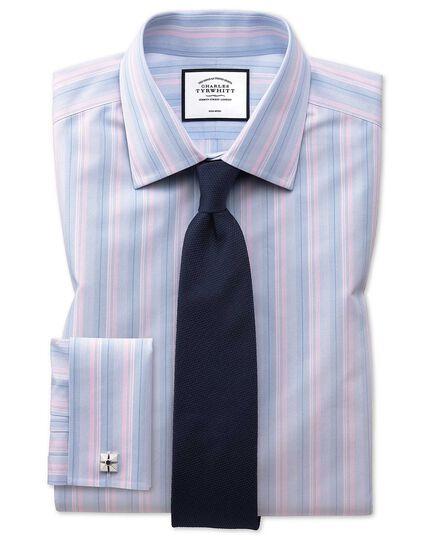 Bügelfreies Extra Slim Fit Hemd mit buntem Streifenmuster in Rosa und Blau