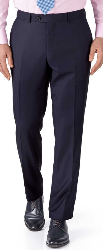 Pantalon Travel bleu encre œil-de-perdrix slim fit