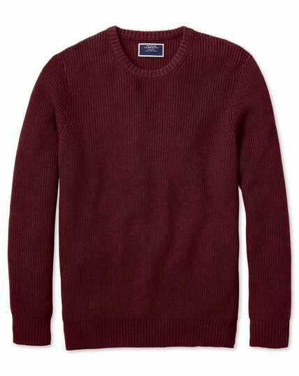 Rust crew neck pima cotton yak rib jumper