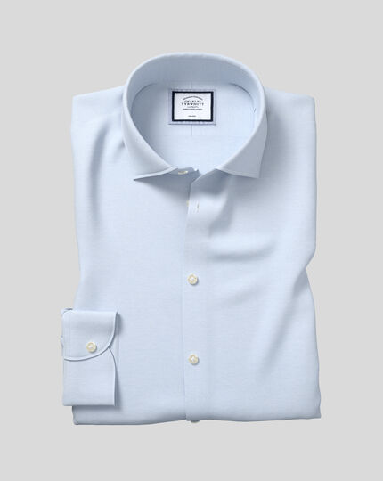 Business Casual Collar Non-Iron Cotton Linen Oxford Shirt - Sky