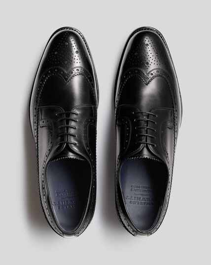 Goodyear Welted Brogue Wing Tip Derby Performance Shoe - Black